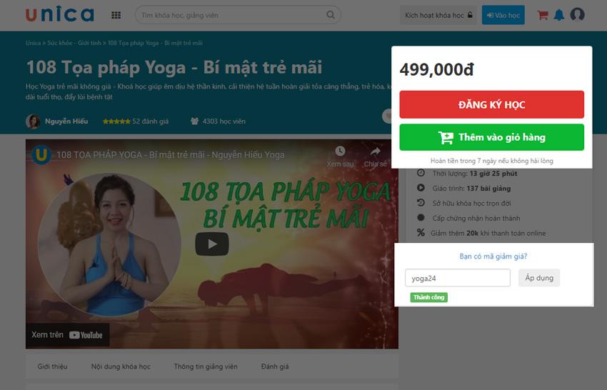 108 tọa pháp yoga khuyến mại
