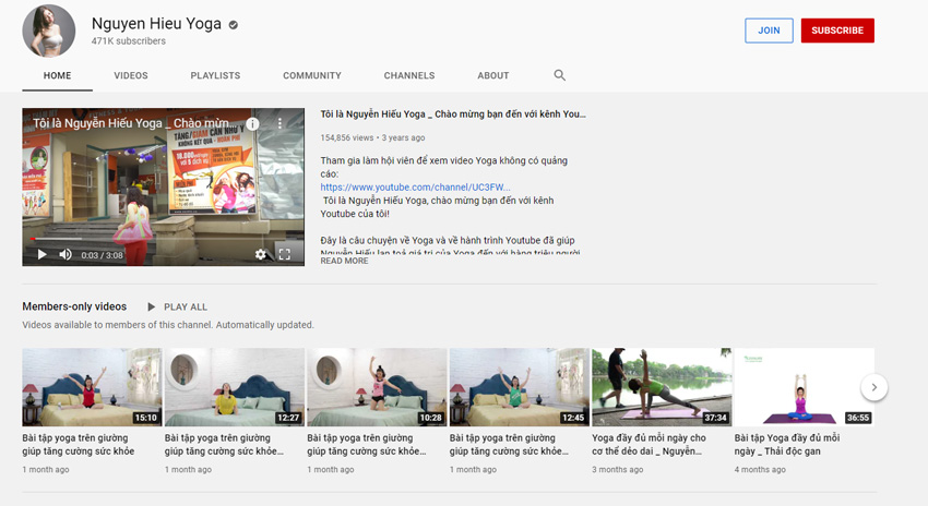 Nguyễn Hiếu yoga Youtube channel