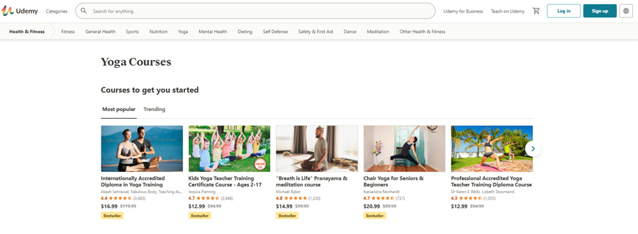 Khóa học yoga online Udemy
