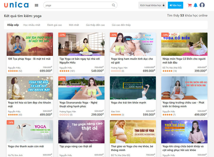 Khóa học yoga online tại unica
